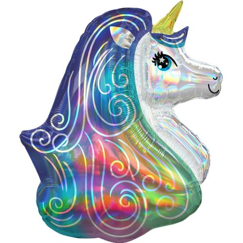 "Rainbow Unicorn Iridescent SuperShape XL Foil Balloons 26""/66cm w x 30""/76cm h P40"
